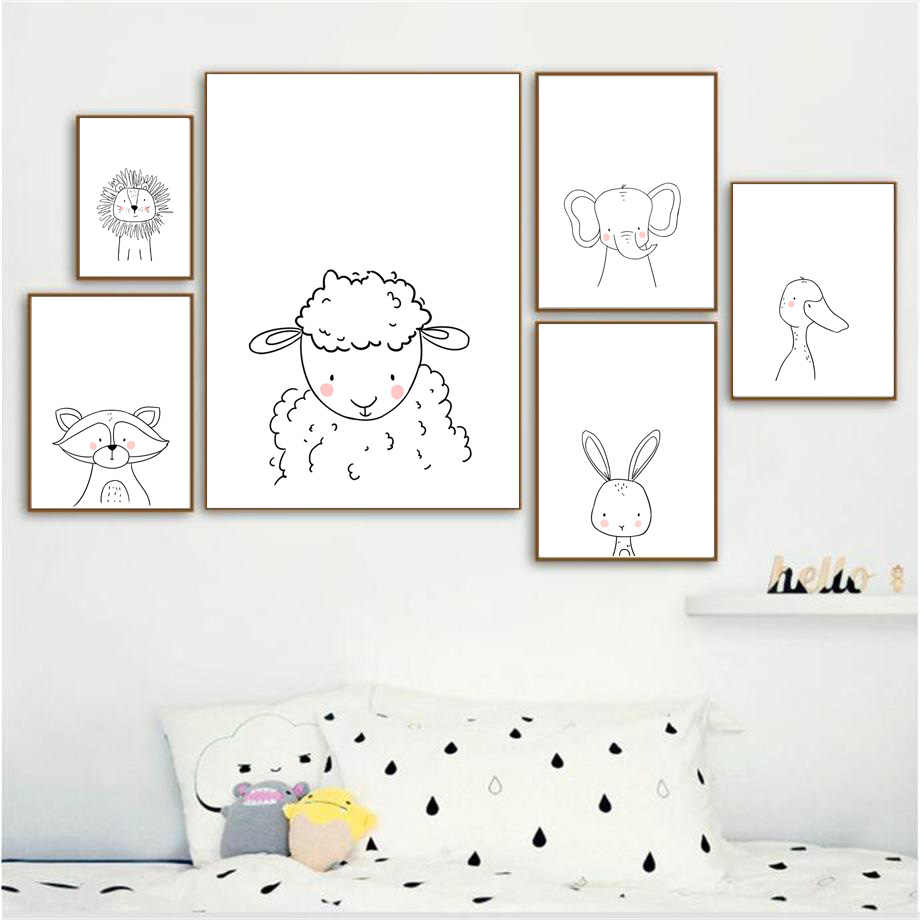 Canvas HD Prints Modern Pictures Line Animals Wall Arts Nordic Style Paintings Home Decoration Modular Posters For Living Room