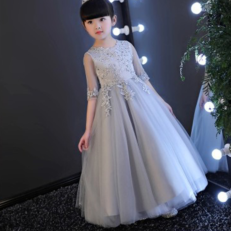 Elegant Half Sleeve Girls Wedding Dress Flower Girl Princess Party Pageant Formal Gown Gray Lace First Communion Dresses E67 elegant women lace patchwork half sleeve t shirt mini dress