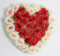 40 cm Güzel Kalp Şekli Yapay gül Çiçek topu Düğün Araba Duvar Kapı Çiçek Dekorasyon ücretsiz kargo
