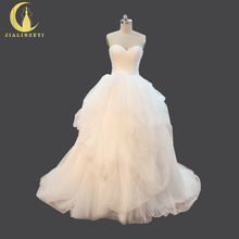 JIALINZEYI Sexy Sweetheart Ruffles Ball Gown Bridal Real Pictures Wedding Dresses Wedding Gown 2017