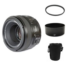 YONGNUO YN 50mm YN50mm f/1.8 AF MF Lente + Parasol + UV filtro + Caja de Lente De Enfoque Automático para Nikon Cámara AF-S 50mm 1.8G