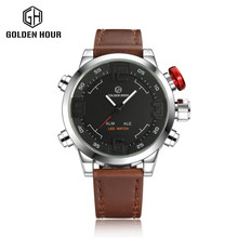 Sport Watch LED Black Red Sport Watch LED Black Red Stainless Steel Case Digital Dual Movement Leather Mens Waterproof Watches