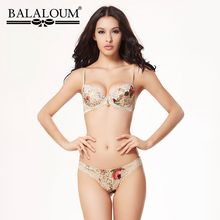 BALALOUM Women Floral Lace Hollow Out Brassiere Push Up Bra and Panty Sets Underwear Sexy Lingerie Set T Back Thongs Seamless