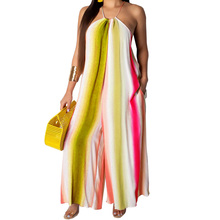 Women Sexy Hollow Out Sleeveless Halter Playsuits Femme Summer Casual Bohomian Beach Vintage Party Club Jumpsuits Plus Size XXL