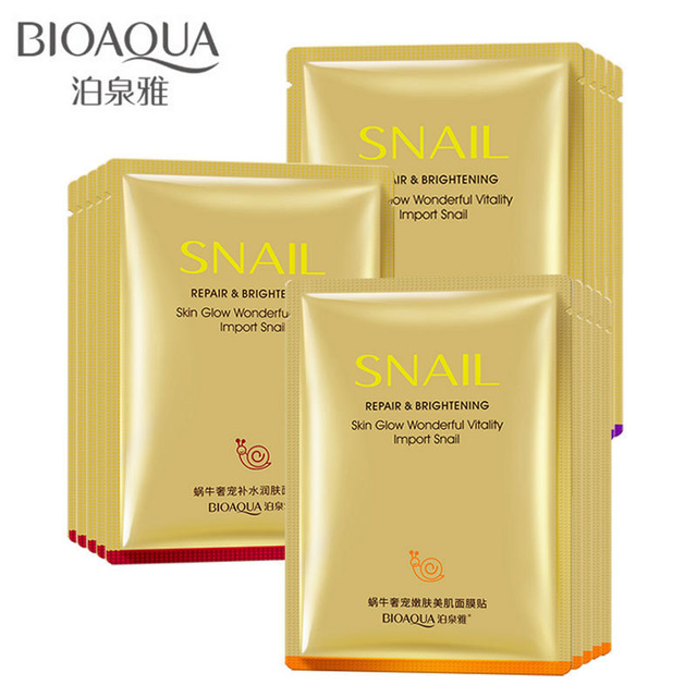 10 Pcs BIOAQUA Snail Face Mask Original korean cosmetics Snail moisturizing mask, moisturizing invisible cosmetics,skin care bioaqua snail whitening
