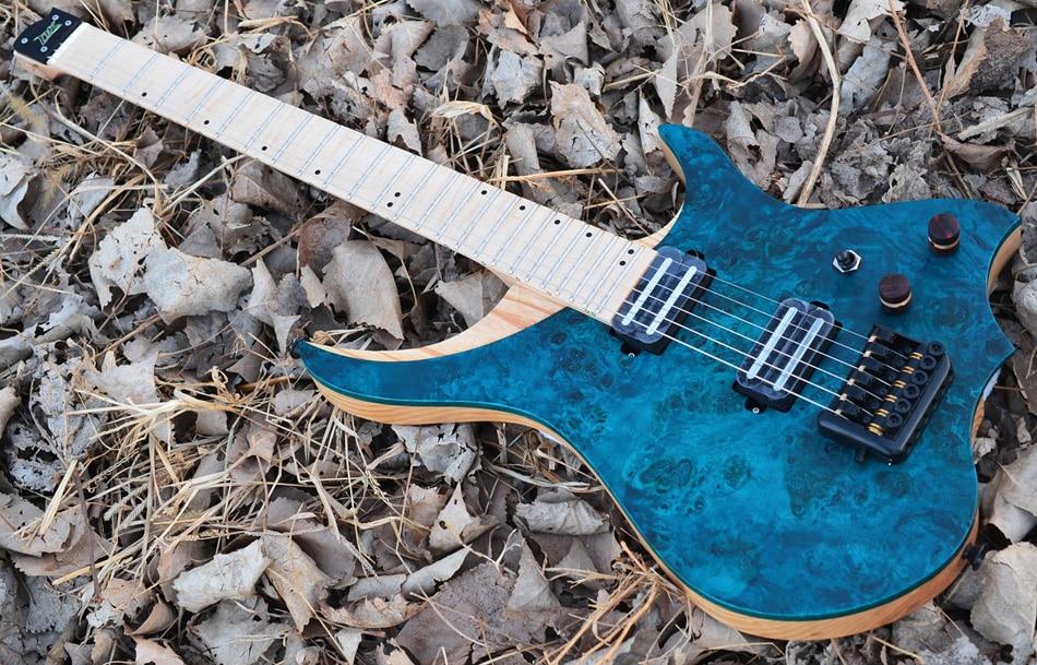 NK guitarra eléctrica sin cabeza estilo steeberger modelo azul ojo Álamo chapa superior llama maple cuello en stock guitarra envío gratis