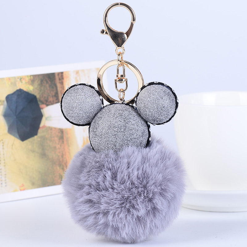 gray Car Pendant Tassel Bag Plush Keychain Rabbit Woman Fur Charm Rex Ball