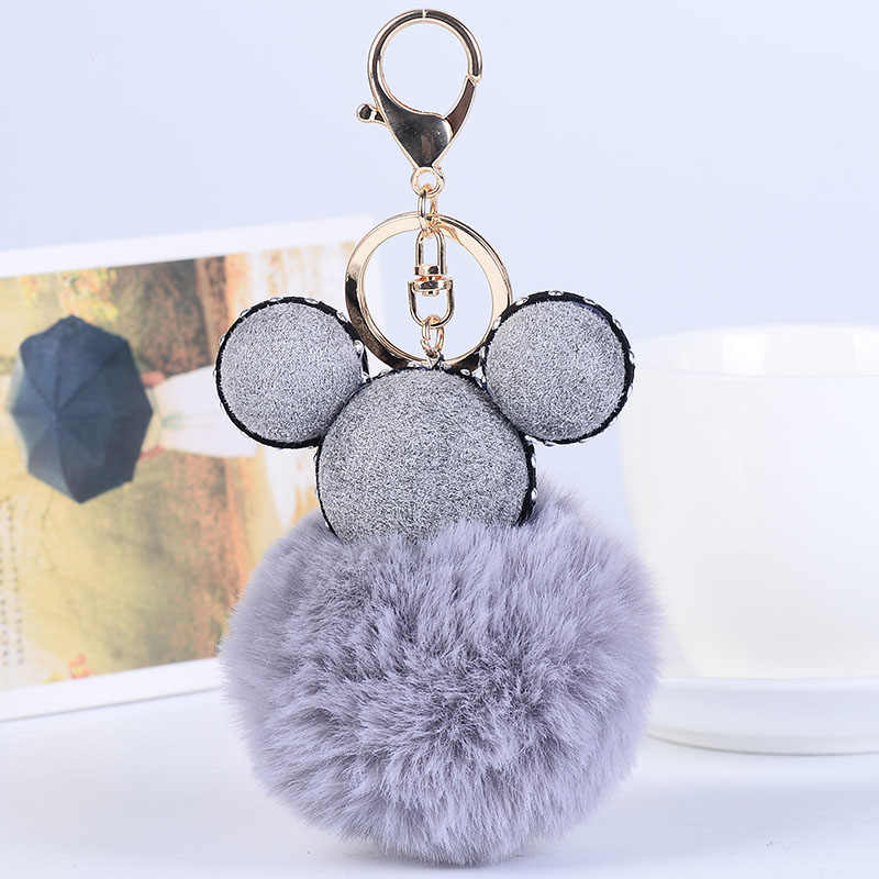 Fluffy Rex Rabbit Fur Bola Chaveiro Borla Chaveiro Mickey Pompom Mulheres Encantos Pingente de Presente Da Jóia Da Cadeia Chave Do Carro Bolsa K618