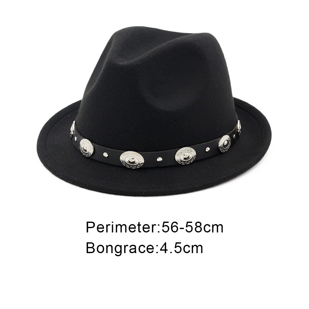 ... Women Men Vintage Wool Blend Oval Decors Winter Flat Wide Brim Bowler  Hat Cap-in ... e152db754ced