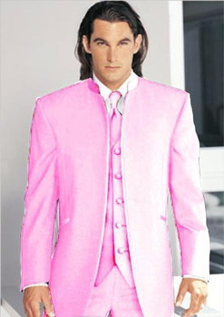 розовый пиджак мужчины   Красивый розовый Жених Смокинги для женихов блейзер женихов Для мужчин выпускного вечера одежда Бизнес Костюмы (куртка + Брюки для девочек +...