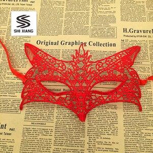Image 5 - 1 шт., женские Кружевные маски для Хэллоуина, черные, красные, белые маскарадные костюмы для вечеринок, украшения на день рождения