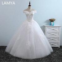 LAMYA White Ivory Tulle Wedding Dresses Pearls Beading Bridal Gowns V Neck Elegant Plus size Lace Appliques Vestido De Noiva