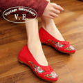 Vintage Embroidery Women Shoes Flats Chinese Button Old Beijing Canvas Cloth Dance Singles Shoes For Cheongsam Zapatos Mujer