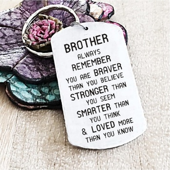Brother/Sister-Inspirational Keychain Always Remember You Are Braver Than You Believe, Stronger Than You Seem...Family Keychain image