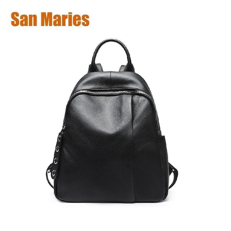 San Maries Black Fashion Backpack Women Backpacks Real Leather School Bags for Girls Travel Shoulder Bag Female High Quality Bag