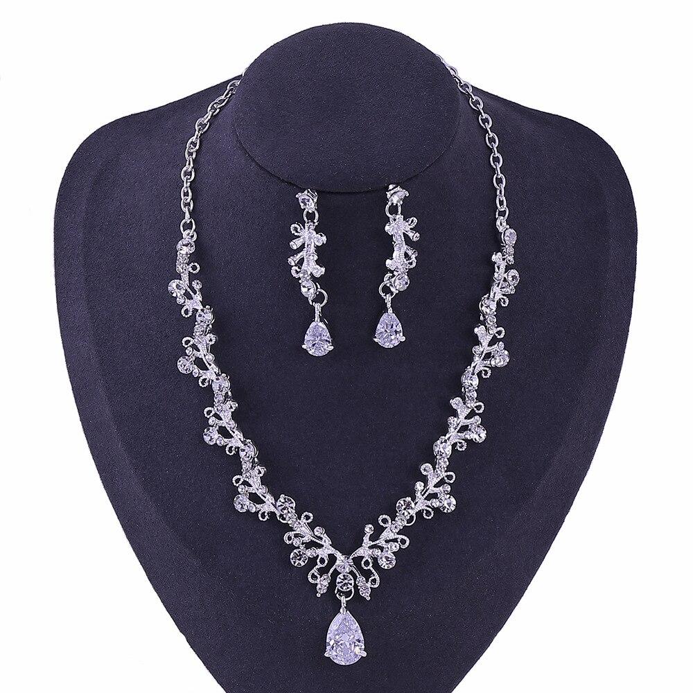 6 - Luxe Noble Feuille De Cristal, Bijoux De Mariée Strass Couronne Diadèmes Collier Boucles D'oreilles, Perles Africaines,