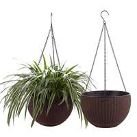 T4U 10 Self Watering Hanging Planter Basket with Chain Modern Plastic Flower Pot Hanger Round Plant Holder Brown Pack of 2