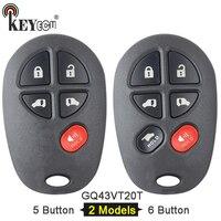 Keyecu fcc id: substituição gq43vt20t 4 + 1 5/ 5 + 1 6 botão remoto carro chave fob para toyota toyota sienna 2004-2016