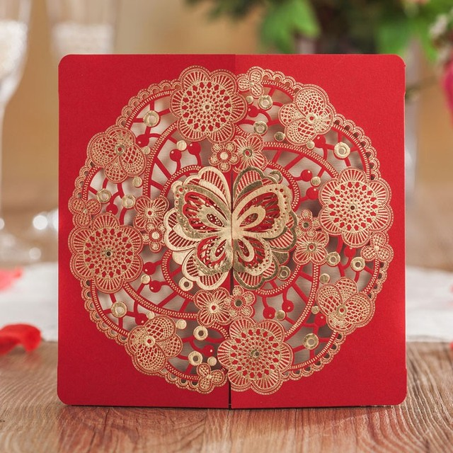 Aliexpress Buy Laser Cut Wedding Invitations Card Red – Butterfly Party Invitation