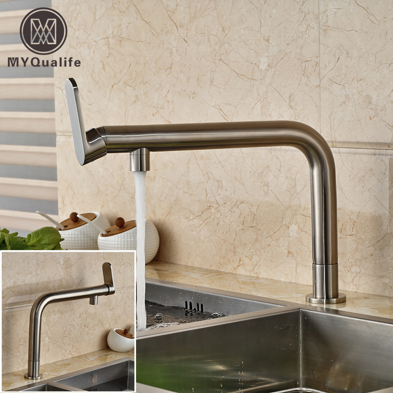 Newly Long Neck Brushed Nickel Kitchen Faucet Single Handle bathroom Kitchen Cold Water Taps Deck Mounted