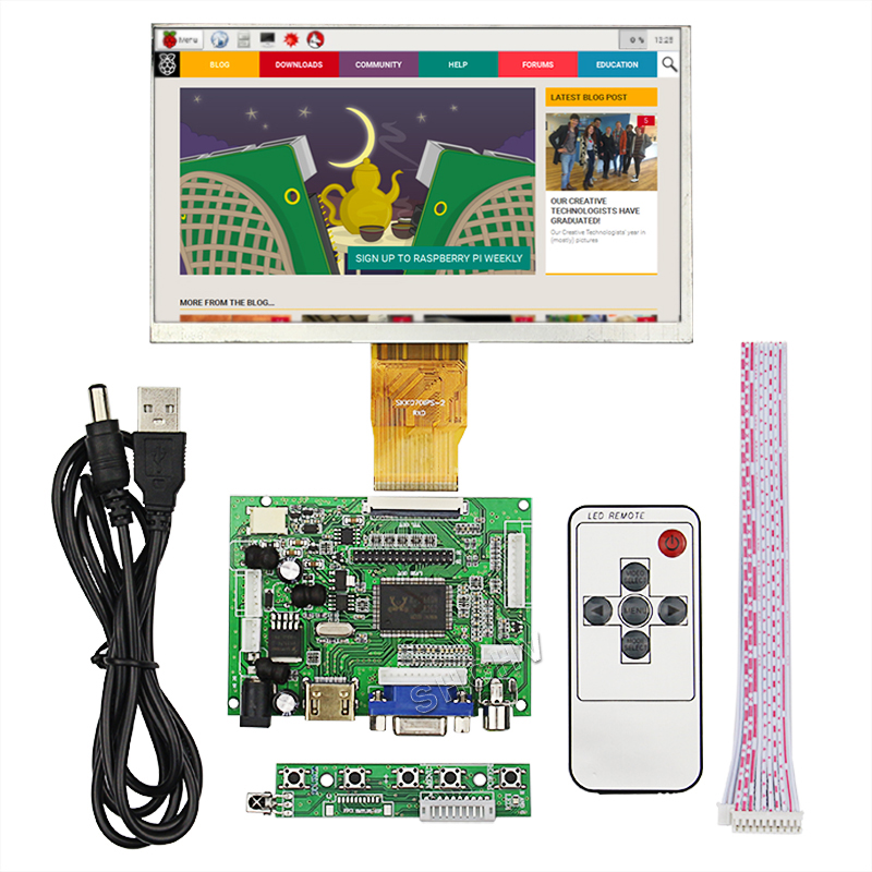 Raspberry pie 2/3 7 inch display HDMI VGA input 1024*600 resolution plug and play