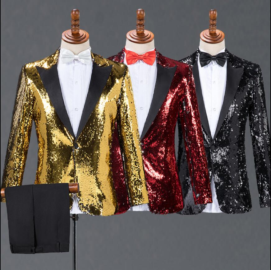 New men's pointed collar suit sequin suits costumes bar nightclub DJ stage host singer chorus costume wedding formal dress