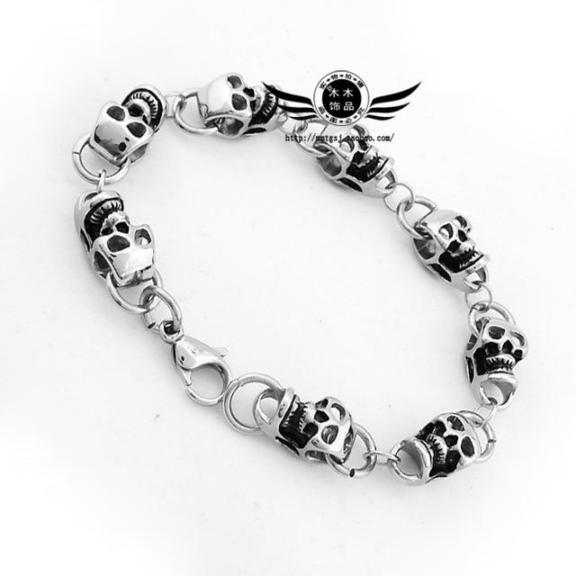 punk rock personality Skull Bracelet titanium Korean jewelry NEW Silver Best Friends Bangles Made Bracelet Fashion Male Jewelry