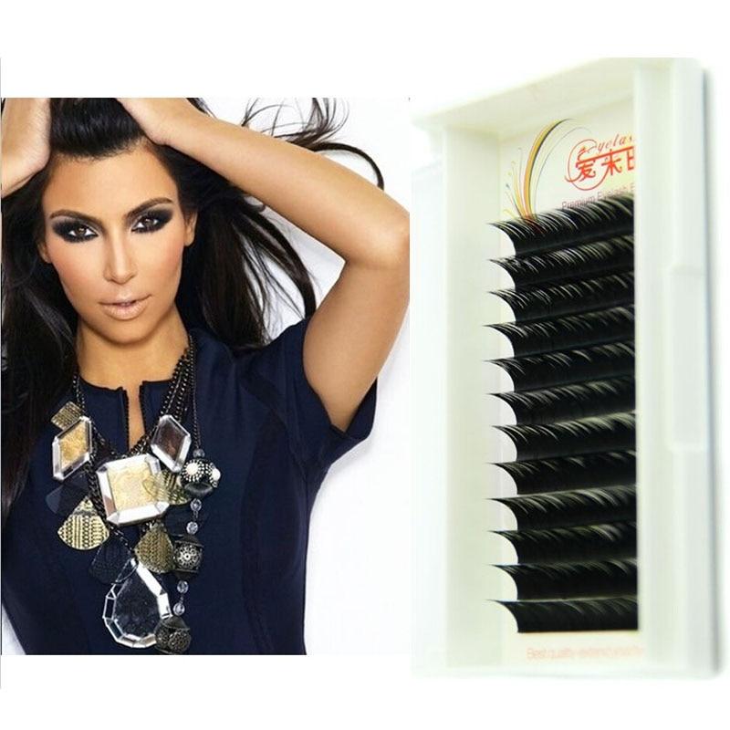 4 Trays/Lot Soft Volume Korea Silk Eye Lashes Natuiral Long 100% Handmade Eyelash Extentio