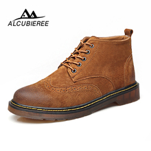 Купить с кэшбэком Leather Casual Boots Men Autumn Winter Ankle Boots Fashion Men Lace-Up British Style Short Boot Men Quality Retro Men Shoes