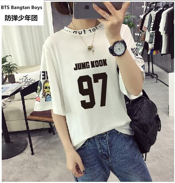 Harajuku Bts T Shirt Women K-pop Couple Clothes Letter T Shirt White Black Over Size Tops Jungkook Jimmi Suga T-shirts Kpop