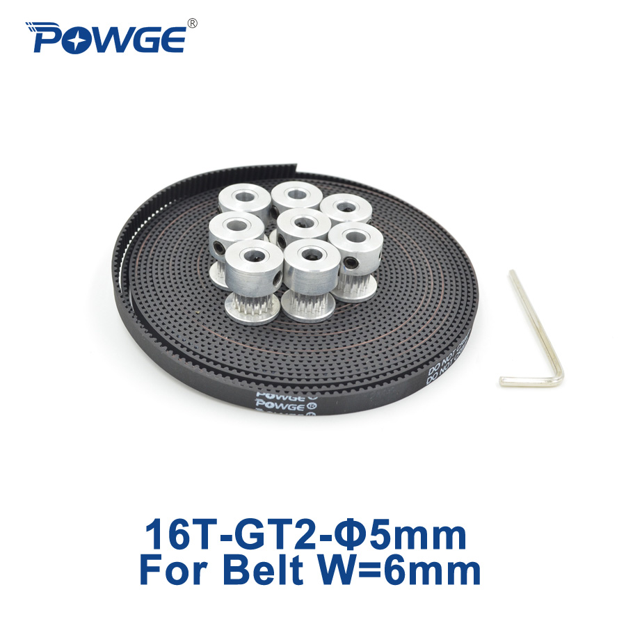 POWGE 8pcs 16 teeth GT2 Timing Pulley Bore 5mm + 5Meters GT2 Timing Belt width 6mm 2GT belt used in linear drive (16Teeth) 16T powge 8pcs 20 teeth gt2 timing pulley bore 5mm 6mm 6 35mm 8mm 5meters width 6mm gt2 synchronous 2gt belt 2gt 20teeth 20t