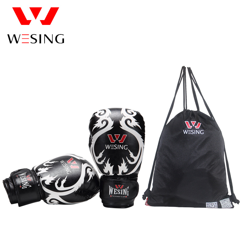 цена на Wesing Boxing Black Gloves 10oz Kickboxing Boxing Muay Thai Puching Mitts Sanda Training Sparring Gloves With Bag