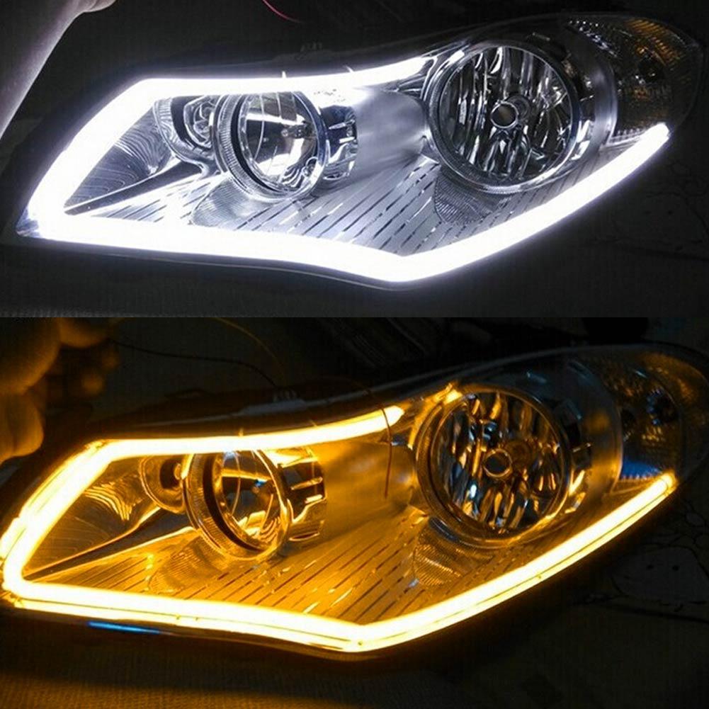 2Pcs white+yellow Flexible LED Strip Light 45cm/60cm Car Soft Tube DRL Daytime Running H ...