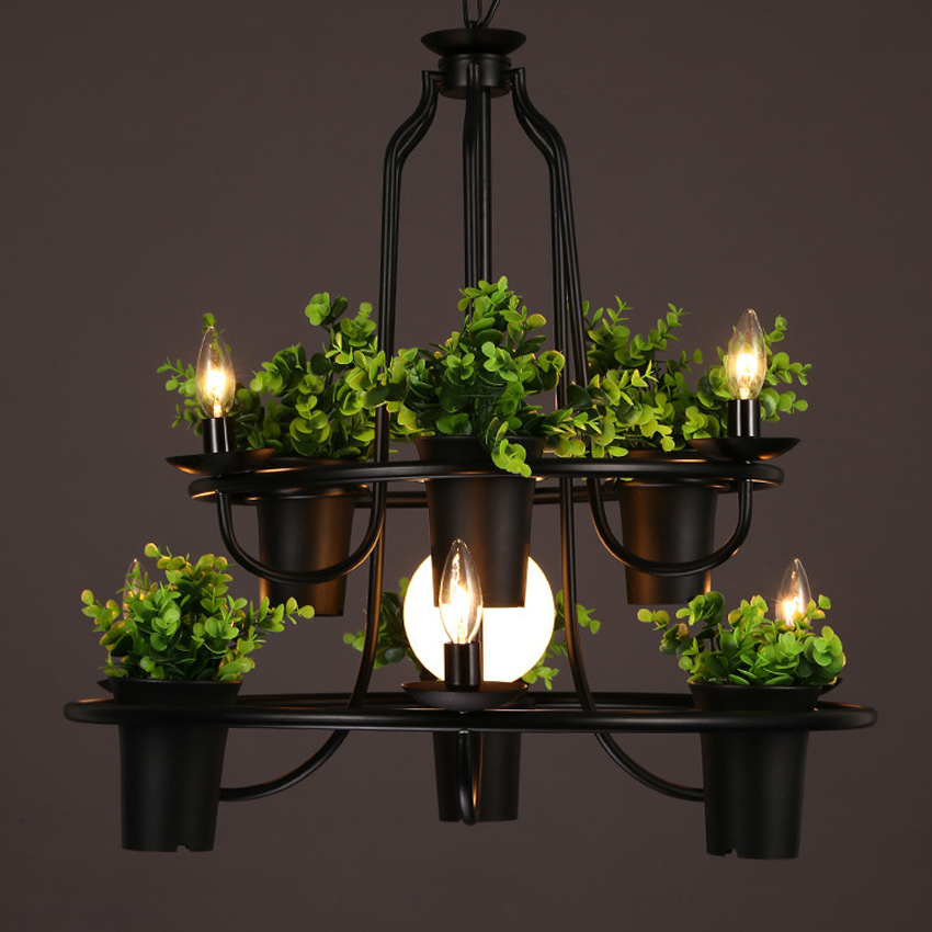 Nordic 4/7 head plant pot Art decor chandelier dia 50/70 cm creative living room restaurant cafe bar wrought iron pendant lamp nordic wrought iron creative pendant light dia 42cm carved flower shade restaurant cafe clothing shop living room hanging lamp
