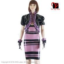 Sexy Latex dress Jacket Rubber Bondage Dress gloves coat Fetish Bandage separate suit transparent Purple Black Pencil Bolero top