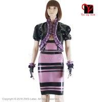 Sexy Latex kleid Jacke Gummi Kleid handschuhe coa anzug separaten transparent Lila Schwarz Bleistift Bolero top plus größe XXXL TZ-003