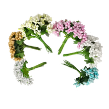 MOMLOVEDIY 12pcs/lot Artificial Flower Stamen wire stem/marriage leaves stamen DIY Wreath Party Wedding Decoration Accessories