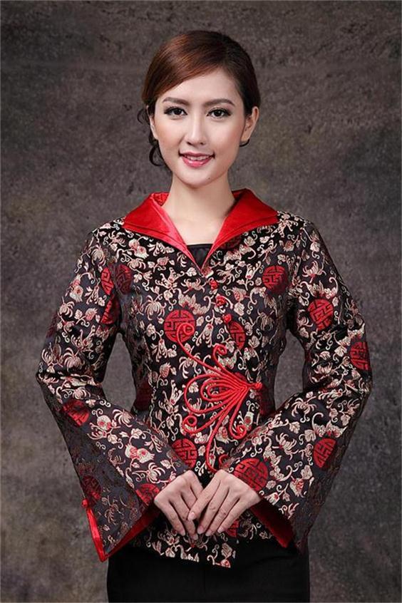 Negro rojo chaqueta de primavera clothing manera de las mujeres chinas chaqueta