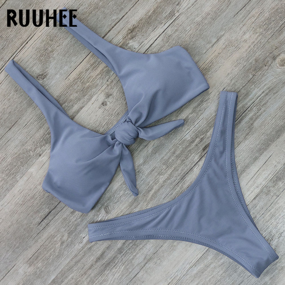 RUUHEE Solid Bikini Swimsuit Swimwear Women Brazilian Bikini Set Push Up Bathing Suit 2018 Thong Female Beachwear With Pad ruuhee bikini swimwear women swimsuit brazilian bikini set high cut bathing suit 2018 bow knot beachwear women s swimming suit