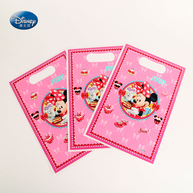 Disney Minnie Mouse Cartoon Printing Plastic Hand Length Handle Bag Loot/ lolly Bags Gift Bag Party Decoration Supplies