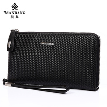 2017 New Designer men leather clutch wallets High quality Genuine leather Knit style Black male Purse MBS1640AH