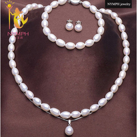 NYMPH Pearl Jewelry Sets For Women Natural Freshwater Pearl Necklace Pendant Bracelet Earrings Fine Jewelry For Women T111