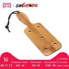 SMSPADE Adult Sex Toys Square Bamboo Paddle with Holes Natural Bamboo Spanking Crop BDSM for Couples SM Bondage Sex Restraints