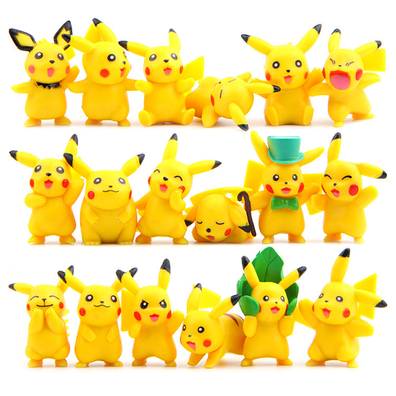 18pcs/lot Kawaii Pikachu Toys 3-6cm Pocket Monster Pikachu Mini PVC Action Figures Toys Doll Collection Model Christmas Toys new 1pieces lot pvc qq mini shape shifting robot car monster machines furnishing articles children s gift