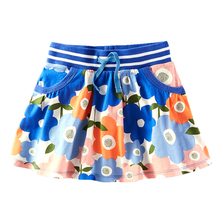 Girls Skirt Flowers Skirts for Girls Cotton Pleated Skirt Girl Purple Child Comfort Skirt 18M-6T