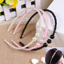 Elegant kids Girl pearl Headbands Korean Style Princess pearl with rhinestone Hair bands children Hair Accessories 1pc(China)