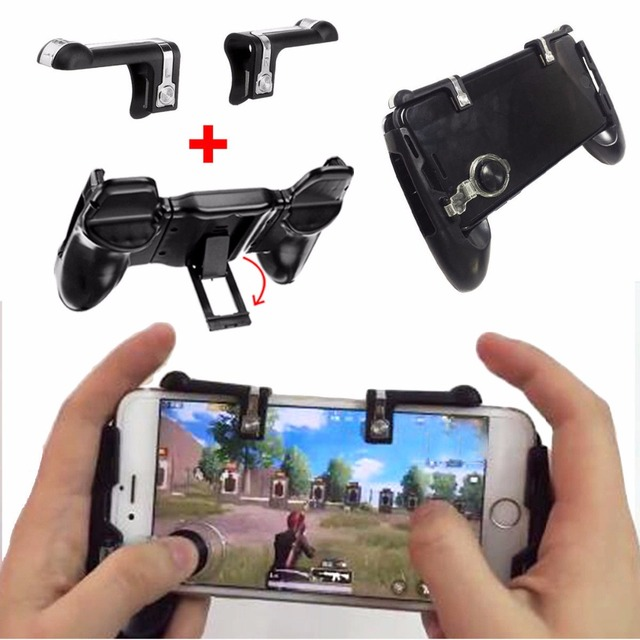 4 in 1  Free Fire PUBG Mobile Controller Gamepad Trigger Button Aim Buttons Smartphone Games L1 R1 Shooter Gamepads For iPhone