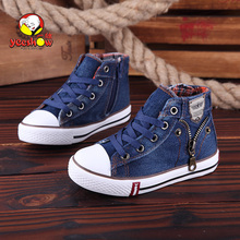 2017 casual shoes for children canvas shoes Waterproof autumn lacing high boy girls denim jean shoe Boy boot casual shoes kilen