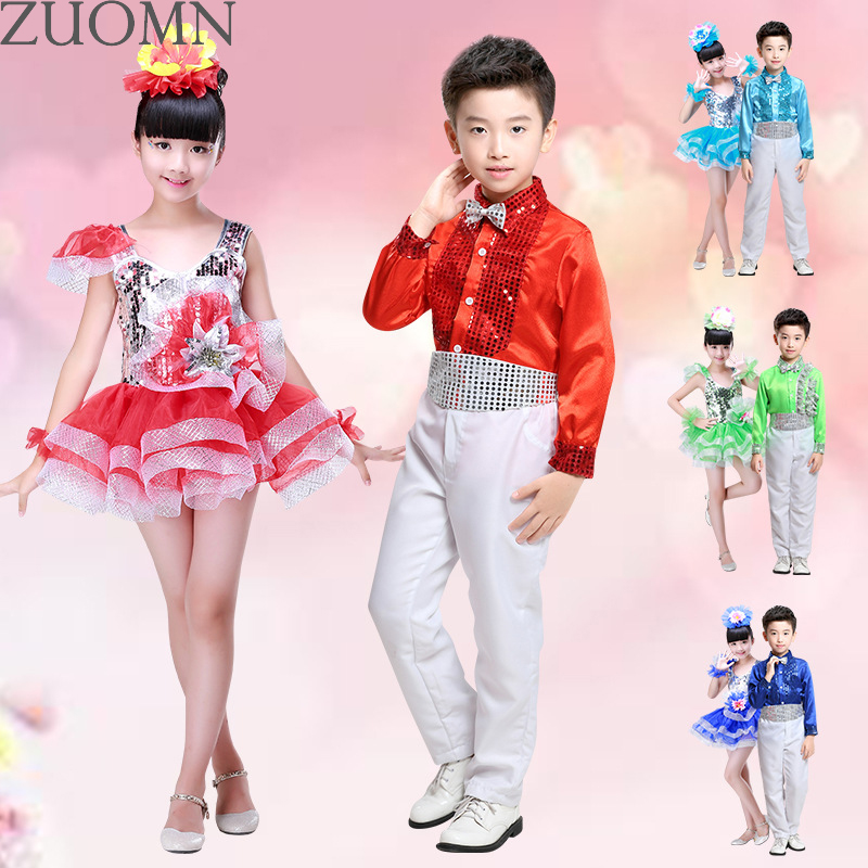 Girls Boys Sequined Ballroom Jazz Modern clothes Hip Hop DanceCompetition Costume Set Dance wear Dancing Outfits Top Pants YL364 new kids dancewear set boys girls sequined stage performance costume modern jazz hip hop dance wear top