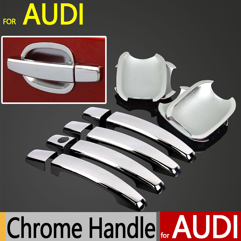 for audi a4 b8 q3 q5 accessories chrome door handle cover 2009 2010 2011 2012 2013 2014 2015 car. Black Bedroom Furniture Sets. Home Design Ideas